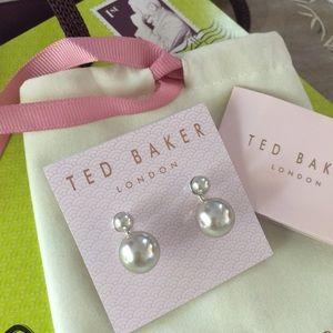 Ted Baker London Deede Drop Pearl Earrings Silver
